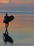 Videonauts Bali Kuta Beach surfing at sunset backpacking